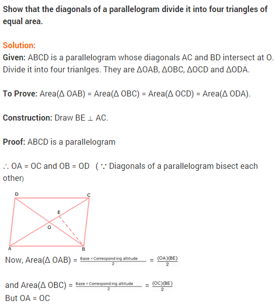 NCERT Solutions for Class 9 Maths Chapter 9 Areas of Parallelograms and Triangles Ex 9.3 A3