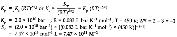 NCERT Solutions for Class 11 Chemistry Chapter 7 Equilibrium Q10.1