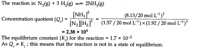 NCERT Solutions for Class 11 Chemistry Chapter 7 Equilibrium Q12.1