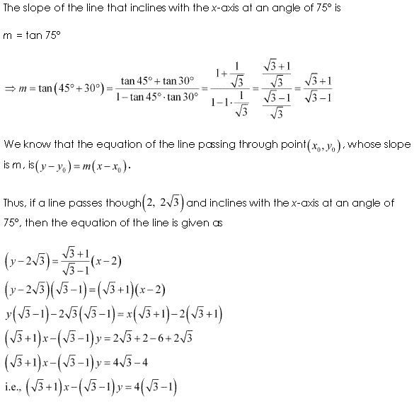 NCERT Solutions for Class 11 Maths Chapter 10 Straight Lines Ex 10.2 Q4.1