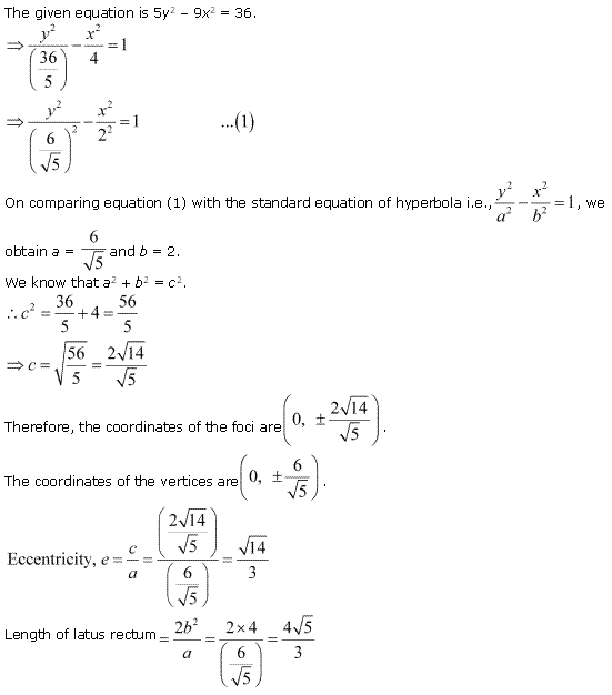 NCERT Solutions for Class 11 Maths Chapter 11 Conic Sections Ex 11.4 Q5.1