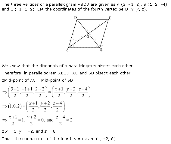 NCERT Solutions for Class 11 Maths Chapter 12 Introduction to three Dimensional Geometry Miscellaneous Ex Q1.1