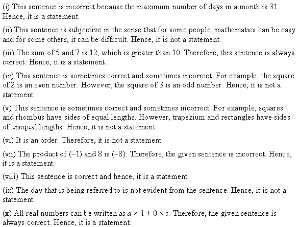 NCERT Solutions for Class 11 Maths Chapter 14 Mathematical Reasoning Ex 14.1 Q1.1