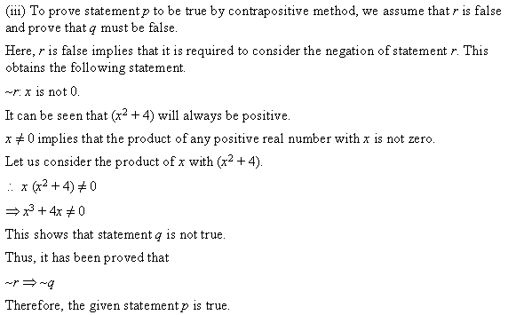NCERT Solutions for Class 11 Maths Chapter 14 Mathematical Reasoning Ex 14.5 Q1.2