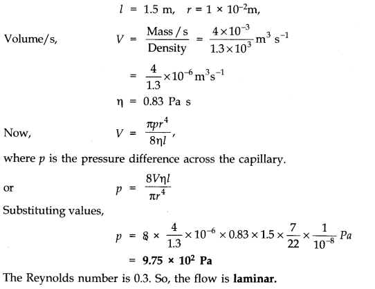 NCERT Solutions for Class 11 Physics Chapter 10 Mechanical Properties of Fluids Q13