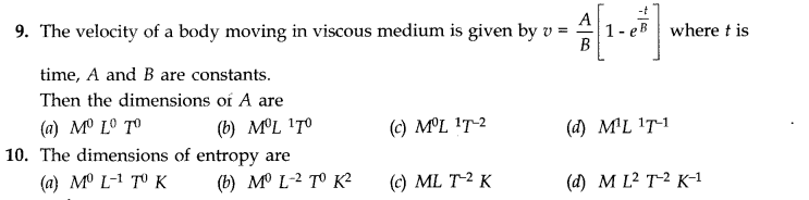 NCERT Solutions for Class 11 Physics Chapter 2 Units and Measurements Extra Questions MCQ Q9