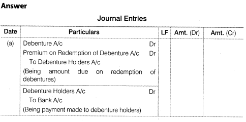 NCERT Solutions for Class 12 Accountancy Part II Chapter 2 Issue and Redemption of Debentures Numerical Questions Q20